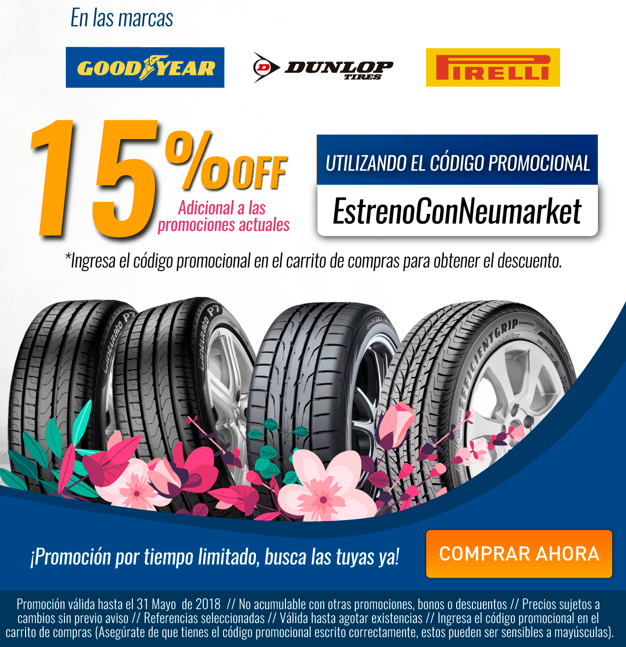 Promociones del mes Goodyear Dunlop Pirelli | llantas de alto desempeño | llantas económicas | llantas para automovil | llantas para carro | llantas nuevas | lllantas para camioneta | las mejores llantas